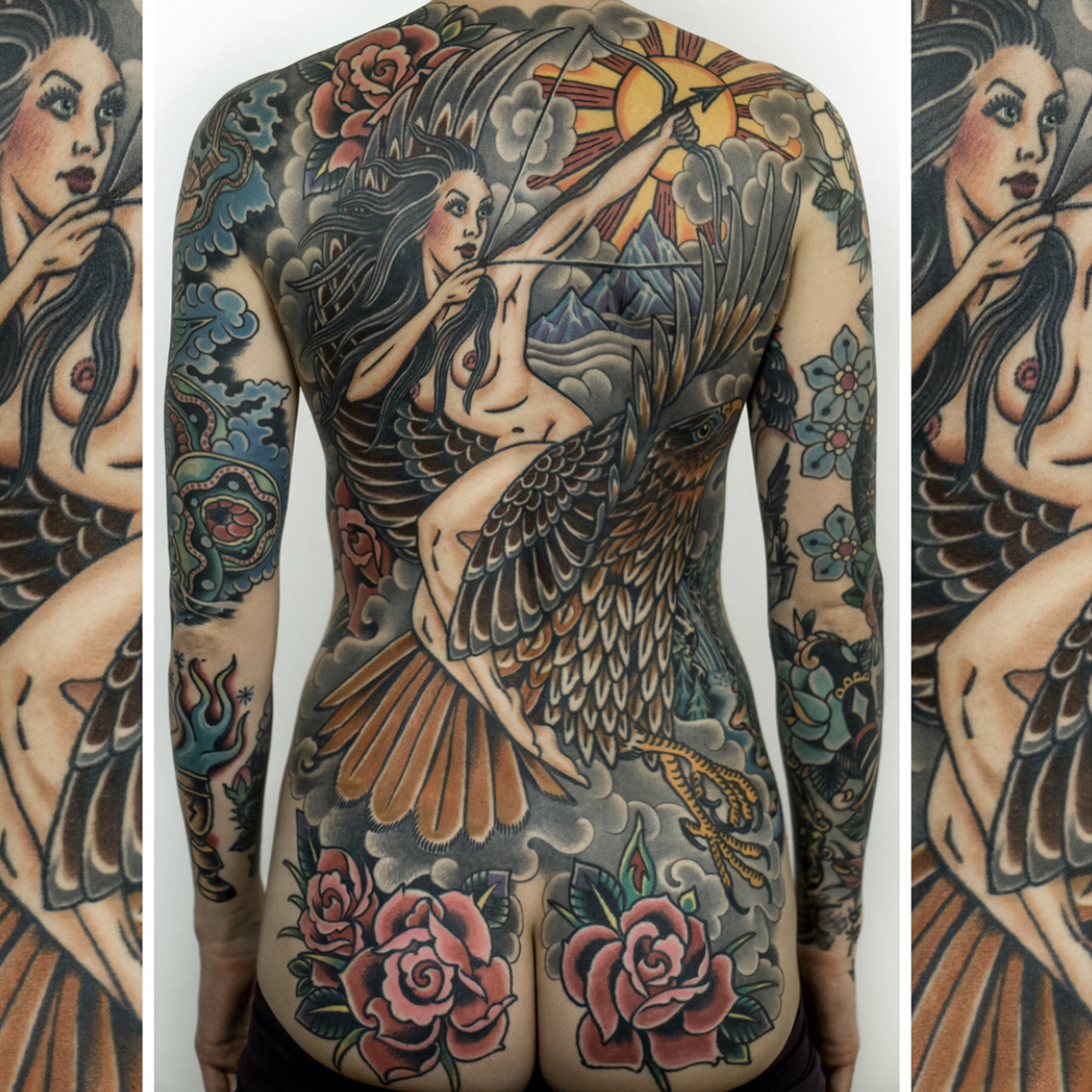 Traditional tattoo back piece